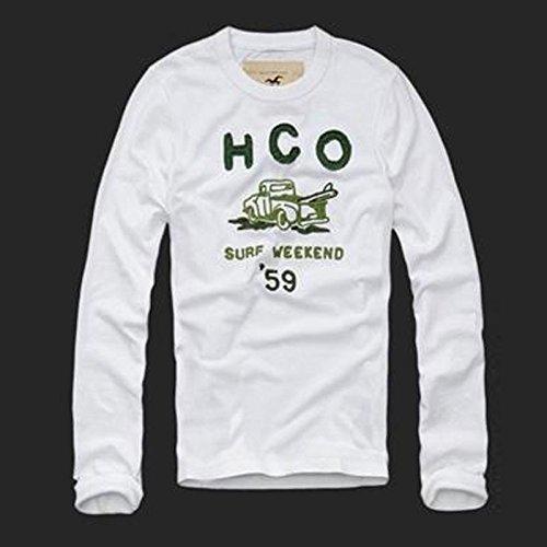 2015年 HOLLISTER ホリスター長袖Tシャツ 白/緑 holl-LF006 (Sサイズ) [並行輸入品]