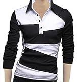 【 スマイズ スマイル 】 Smaids×Smile メンズ ポロシャツ 半袖 ボタン ダウン 長袖 スタイリッシュ スリム シンプル ゴルフ スポーツ ウェア M02081 (ブラック 長袖 M)