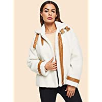 INFASHION Women's White Casual Contrast Faux Leather Detail Teddy Jacket with Contrast FA