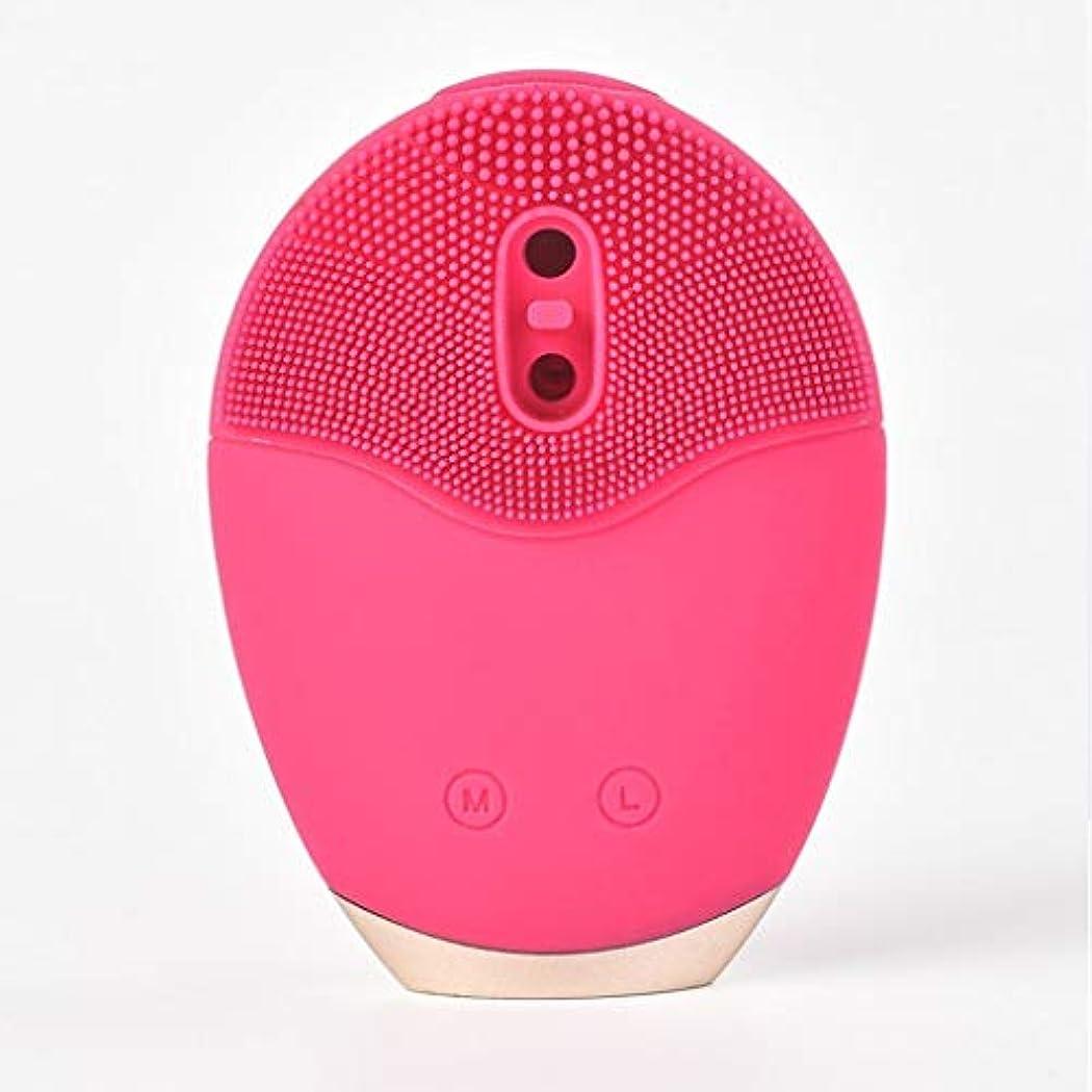 オピエート音楽家音波振動洗顔ブラシ、シリコーン洗顔ブラシ電動アンチエイジングディープクレンジング優しい角質除去ポアクリーナー美容ツール (Color : Red)