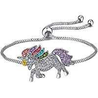 LOVFASH Silver Plated Cute Unicorn Pendant Necklace & Adjustable Link Bracelet with Rainbow Rhinestone Crystals Gift for Women Girls
