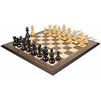 フランス語Lardy Stauntonチェスセットin Ebonized Boxwood & Boxwood withTigerエボニー&メープルチェスボード- - - - - - -