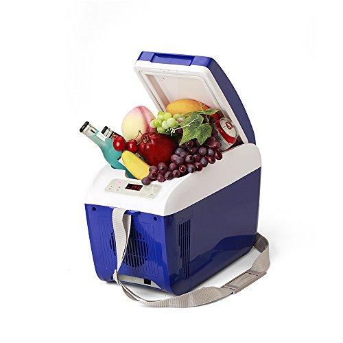 ポータブル冷蔵庫 車載 8L 大容量 保温保冷庫 静音 ソフトドリンク缶 12本収納可能 ブルー SOAC CR082-B