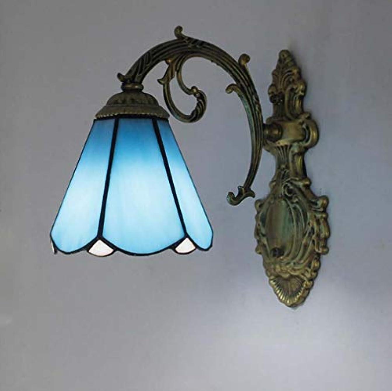 醜い脇にグレードウォールランプアンティークティファニースタイル1ライト壁取り付け用燭台ステンドグラスシェード、ヴィンテージブロンズ錬鉄製の壁の寝室のリビングルームの照明,G