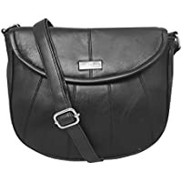 Quenchy London Women's Cross-Body Shoulder Handbag, Designer Bag in Black Soft Leather, Phone Holder Pocket Single Adjustable Across Chest Strap Ql185K
