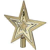 C-Princess クリスマス 飾り クリスマスツリー オーナメント ゴールド 星 スター ツリートップ グリッター 宴会 クリスマスツリートップ (14cm)