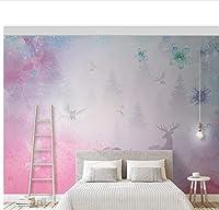 Weaeo カスタム3D不織布の壁紙子供の写真の壁画の壁紙夢の森エルクアンドダブのホームインテリアキッズルームのベッドルームリビングルーム-400X280Cm