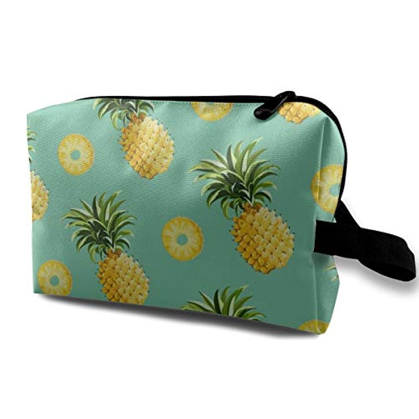会計ひまわり低下Pineapple And Slice Design Gold 収納ポーチ 化粧ポーチ 大容量 軽量 耐久性 ハンドル付持ち運び便利。入れ 自宅?出張?旅行?アウトドア撮影などに対応。メンズ レディース トラベルグッズ