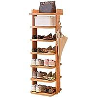 靴キャビネットマルチレイヤーバケットシューズラックシンプルシューズシェルフ木製ストレージラックスモールシューキャビネットメープルチェリーウッドカラー(靴ラックのみ含む) (色 : Red maple wood color)