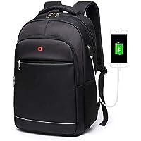 School Backpack Teens Boys School Bags for Teenagers Backpacks Laptop Men Nylon Charging USB Black Student High Schoolbag Large Bookbag (Color : Black, Size : -)