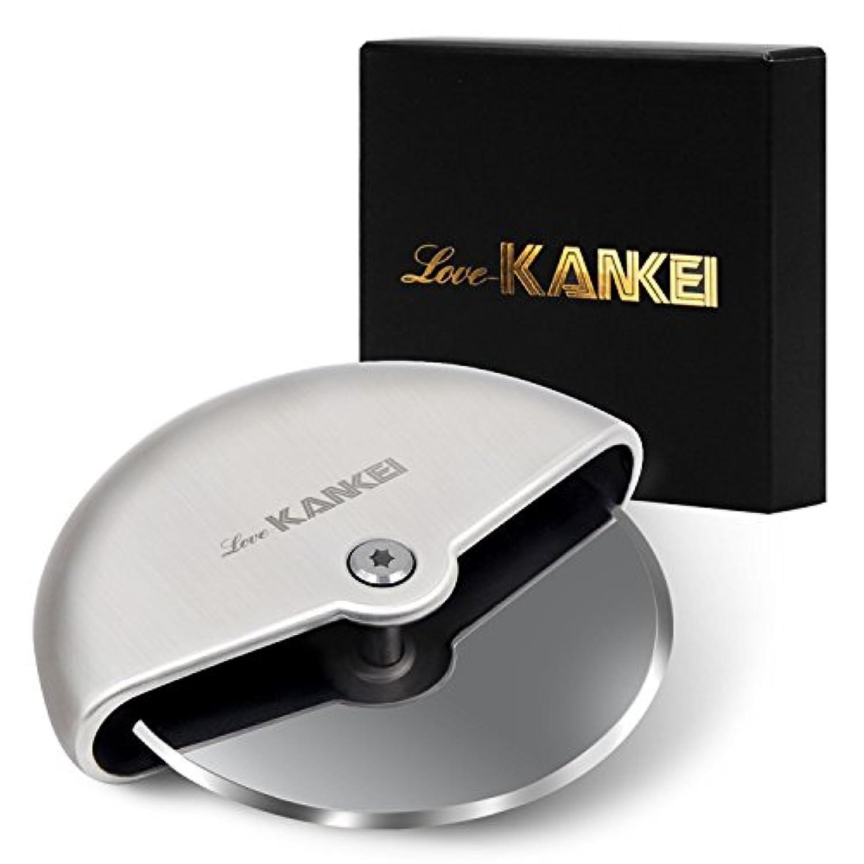 Love-KANKEI ピザカッター 家庭 事務 キャンプ 回転式 耐久性 コンパクト収納 ステンレス製