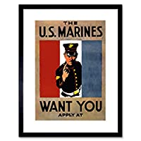 Propaganda Recruit Us Marines Military War Framed Wall Art Print 宣伝リクルートマリン軍隊戦争壁