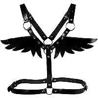 LISBLIER Women PU Leather Punk Adjustable Body Chest Harness Belt Waist Belt Shoulder Belt Angel Wings Suspenders Steampunk Roleplay Costume (Black)