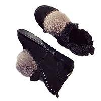 [G7LZ] レディース ボア ブーツ レディース あったか ムートンブーツ ブラック スウェード 足首丈 ショートブーツ 冬ブーツ スノーブーツ 雪対策 靴 24.5cm 防寒靴 ウィンターブーツ ファー付き 歩きやすい 安定感 定番 暖かい 冬用 通学 通勤用