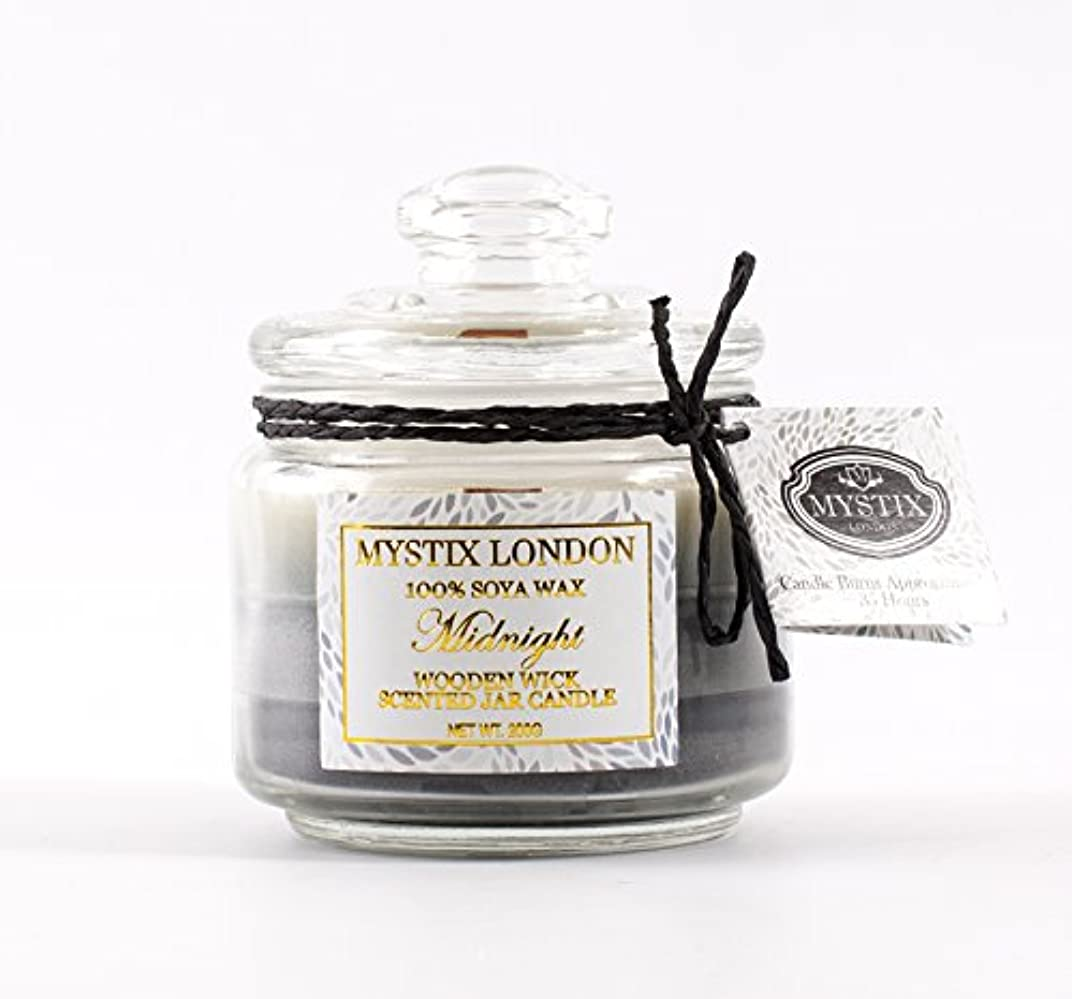 シャッター慢ベジタリアンMystix London | Midnight Wooden Wick Scented Jar Candle 200g