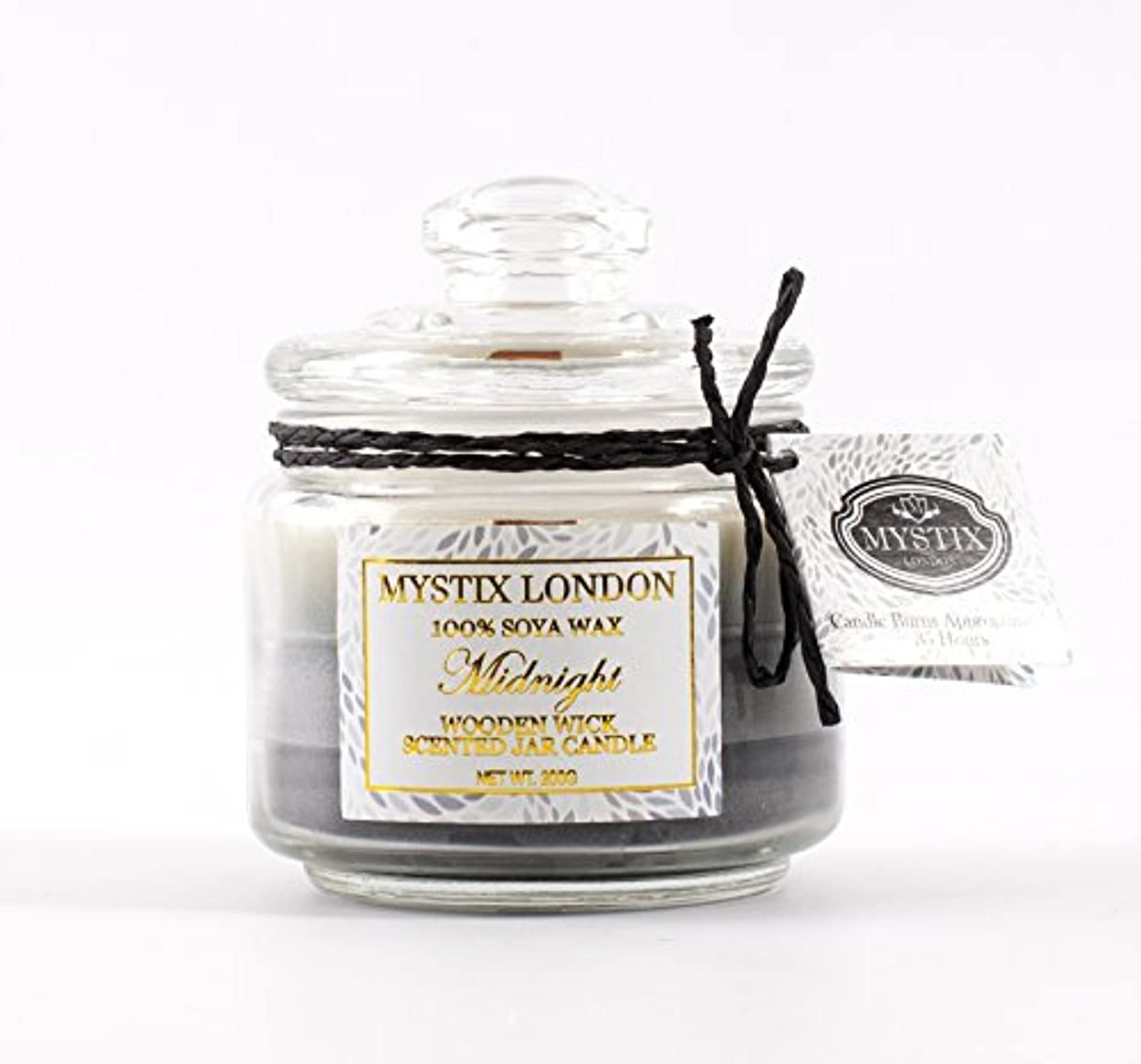 復活する無特派員Mystix London   Midnight Wooden Wick Scented Jar Candle 200g