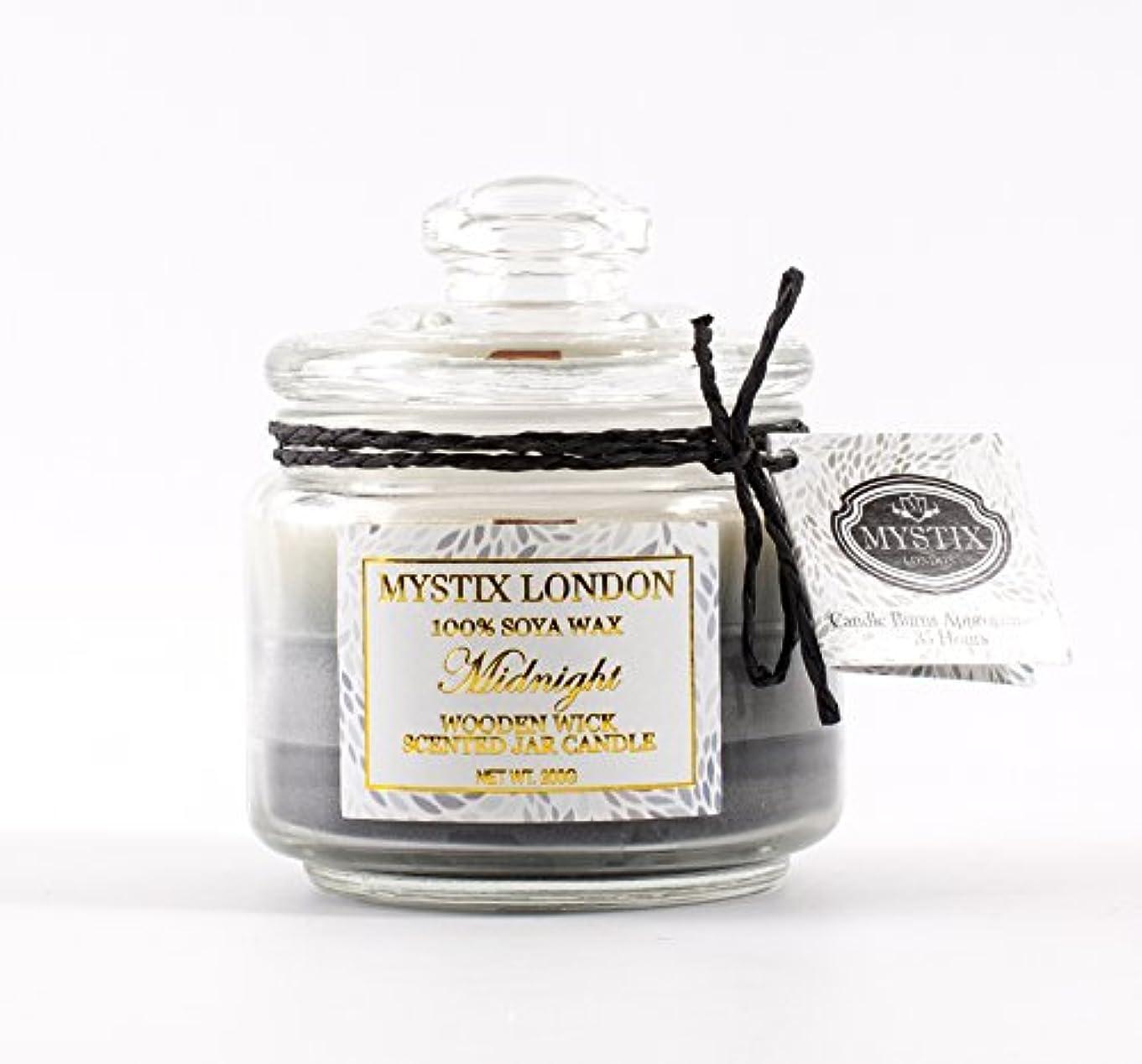 ペネロペ閉じ込める逆にMystix London   Midnight Wooden Wick Scented Jar Candle 200g