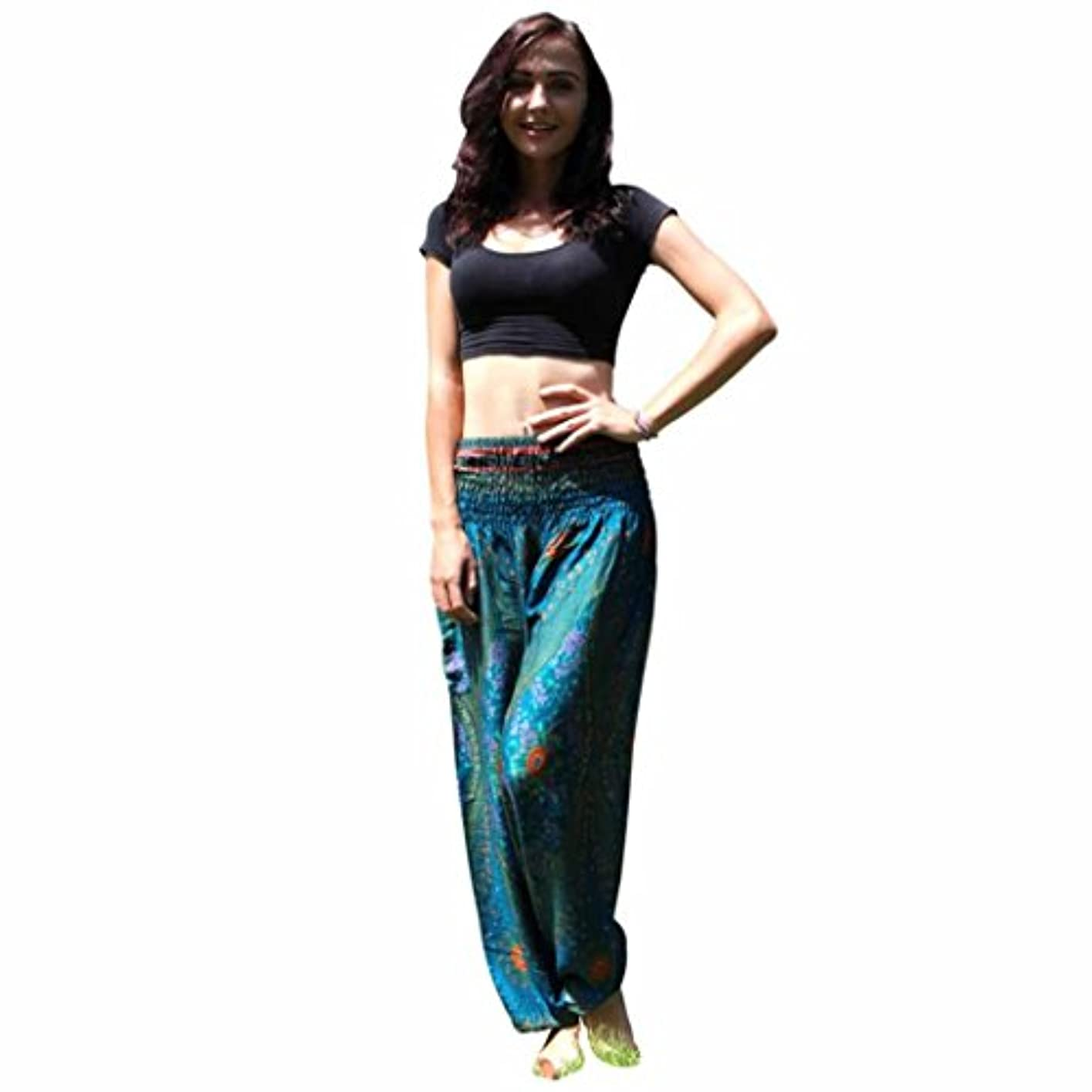 気候教育学肖像画Mhomzawa パンツ男性女性タイのハレムのズボンフェスティバルヒッピーのスモックハイウエストのパンツのタイハーレムヨガ?パンツ