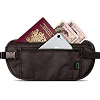 CampTeck RFID Hidden Money Belt Travel Pouch Wallet for Cash, Passport, Debit & Credit Cards, Smartphone etc Black