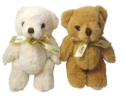 しあわせ倉庫 プレゼントベアー 熊 ぬいぐるみ で サプライズ 巾着袋 プレゼント 結婚式 誕生日 パーティ- ギフト ラッピング (ホワイト ブラウン)
