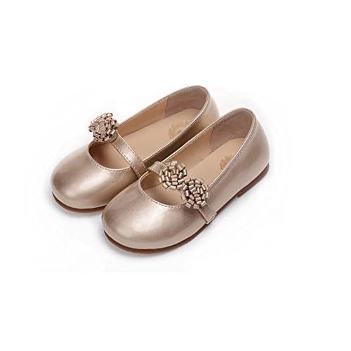 (チェリーレッド) CherryRed 子供靴 キッズ 女の子用 フォーマル靴 可愛い お花 発表会 結婚式 卒園式 卒業式 入学式 七五三 33 ゴールド