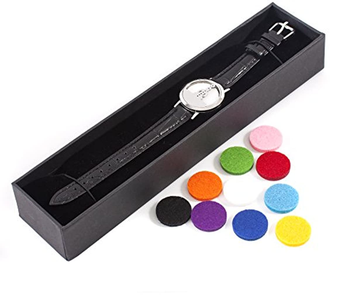 第二に推測売り手Mystic Moments | Seven Chakras | Aromatherapy Oil Diffuser Bracelet with Adjustable Black Leather Strap