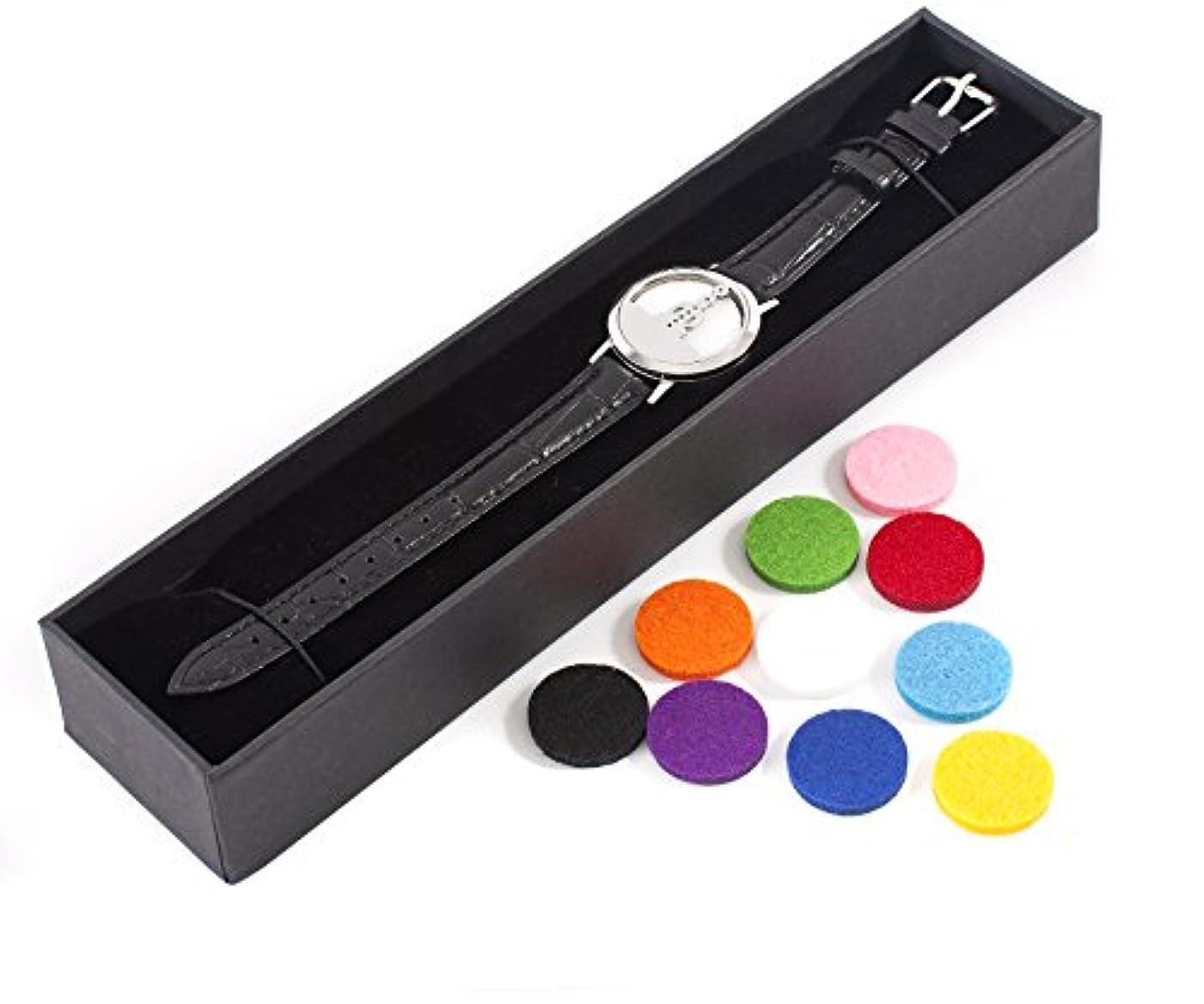 創始者開いた静かなMystic Moments | Seven Chakras | Aromatherapy Oil Diffuser Bracelet with Adjustable Black Leather Strap