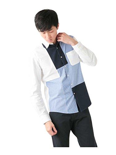 (アーヴェヴェ) a.v.v パッチワークオックスシャツ[WEB限定サイズ] KHBED03049 L ホワイト