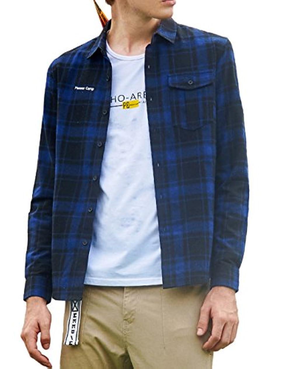 責ロケットつまずくパイオニア キャンプ(Pioneer Camp) メンズ  チェックシャツ ボタンダウンシャツ カジュアルシャツ コットン 長袖 ネルシャツ アメカジ カジュアルシャツ
