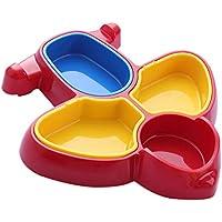 IPOTCH 全2色 赤ちゃん 子供 夕食トレイ 分割 プレート 仕切り食器 航空機の形 - 赤
