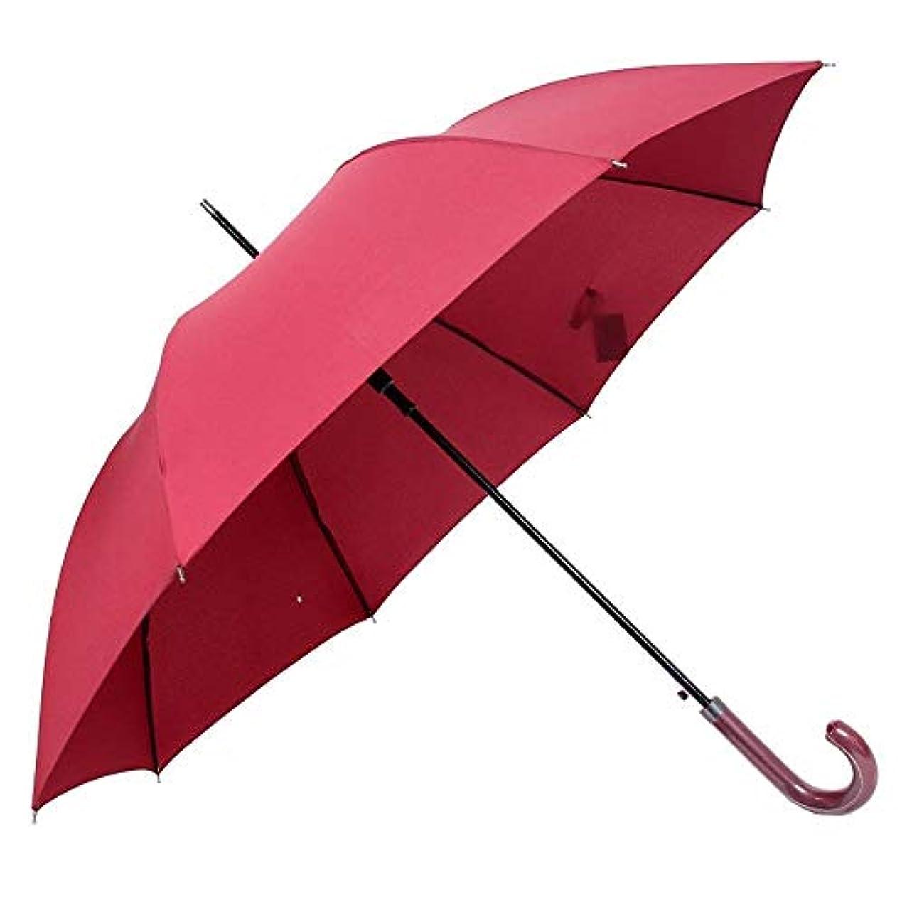 あいまい対応する波Chuangshengnet 傘傘革ハンドル屋外自動傘ダブル特大防風ロングハンドル傘インチ (Color : 赤)