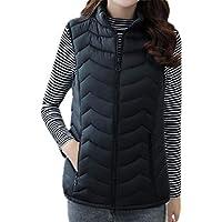 UUYUK Women Lightweight Stand Collar Zipper Sleeveless Gilet Vest Waistcoat