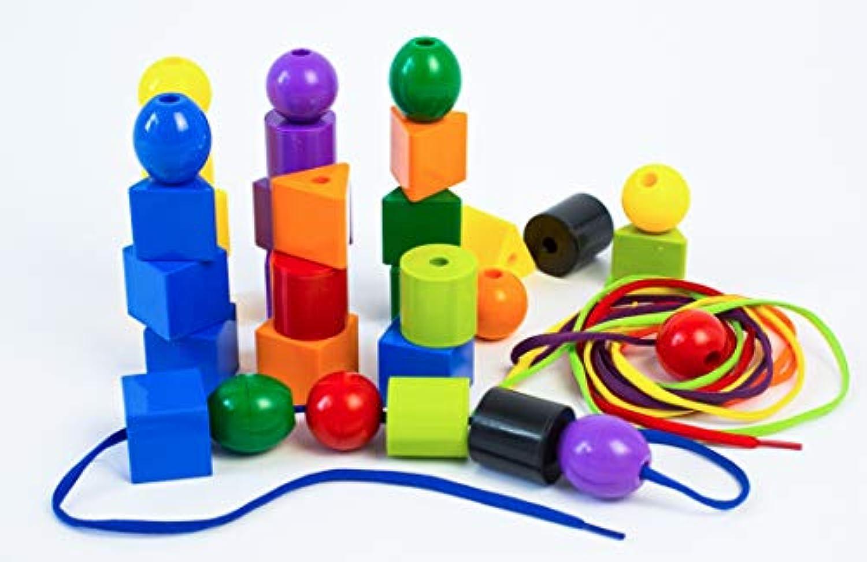 ジャンボPrimary Stringing Beadセットwith 30 Biggest Lacingにビーズが市場と4靴紐、幼児や赤ちゃん、4文字列、作業療法