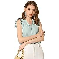 Allegra K Women's Ruffled V Neck Vintage Work Shirt Cap Sleeves Blouse Tops