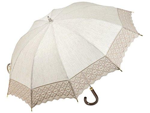 皇室御用達前原光榮商店のお洒落で涼しい麻のレース日傘(ベージュ) トーションレースショートパラソル UVカット加工