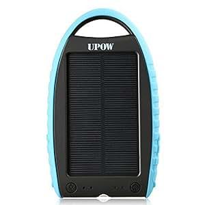 Upow 7000mAh 超大容量モバイルバッテリー ソーラーパネル ソーラーチャージャースマホ/タブレット充電器 、LEDライト付け/緊急防災用★多用途な太陽光モバイル充電器 (ブルー)