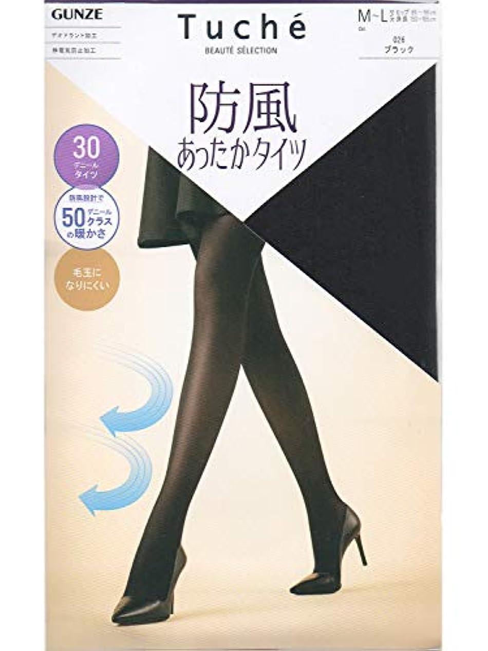 恩恵ボイコットポスト印象派グンゼ トウシェ 30デニール 防風暖かタイツ M-Lブラック