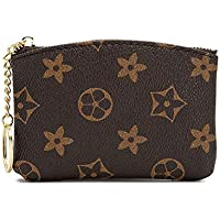 LLGGVE Checkered Zipper Coin Purse PU Vegan Leather waller Mini Key Ring Wallet Card Case (Brown Flower)