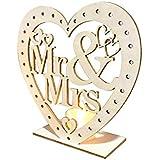 結婚式 木製飾り LEDライト付 ウェディング チョコレートキャビネット飾り新郎新婦 love you Mr&Mrs 15×15×5cm