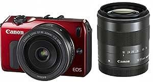 Canon ミラーレス一眼カメラ EOS M ダブルレンズキット EF-M18-55mm F3.5-5.6 IS STM/EF-M22mm F2 STM付属 レッド EOSMRE-WLK