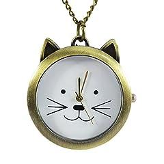 [モノジー] MONOZY ネックレス 時計 【選べるデザイン】アンティーク 調 ペンダント ウォッチ 収納袋 おしゃれ ネックレス時計 レトロ 懐中時計 (D:ネコ)