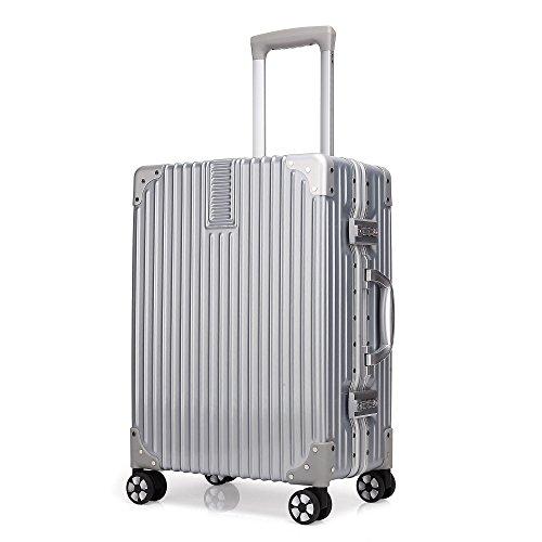 クロース(Kroeus)スーツケース 大型 軽量 人気 キャリーケース 旅行用品 出張 TSAロック搭載 機内持込可 大容量 耐衝撃 ヘアライン仕上げ 4輪ダブルキャスター 静音 s シルバー