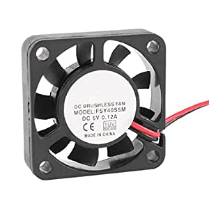 SODIAL(R)40mm x 10mm 0.12A 2ピン5V DCブラシレスベアリングの冷却ファン