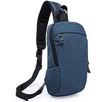 Wukong Mens Canvas Shoulder Bag Lightweight IPAD Chest Bag Cross Body Daypack