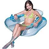 FIELDOOR フローティングラウンジ 115cm (背もたれ付き) ブルー&ホワイト/ブルー&クリア (幅115×奥行108×高さ55cm) 浮き輪 フロート
