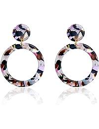 UNIWILL Acrylic Earrings Tortoise Shell Resin Earrings Drop Dangle Statement Earrings for Women Fashion Jewelry