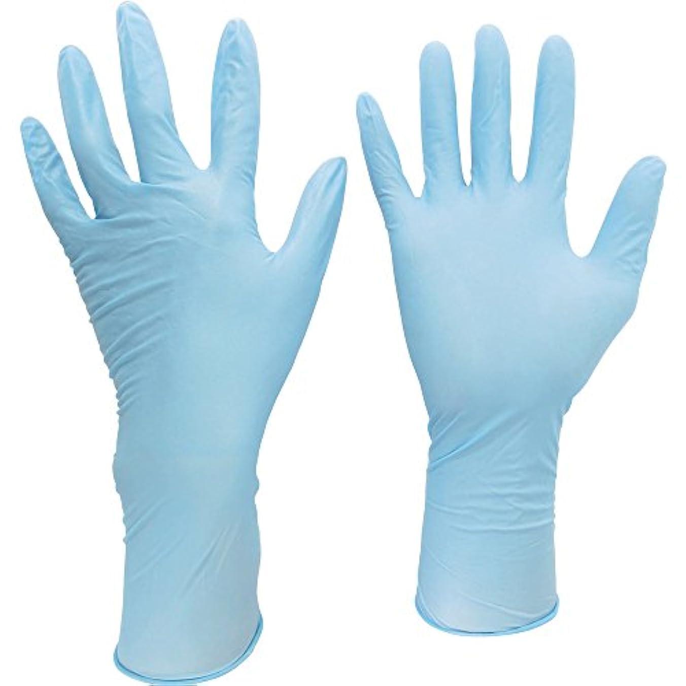 限られたプレフィックス遠足ミドリ安全 ニトリル使い捨て手袋 ロング 厚手 粉なし 青 LL (50枚入) VERTE-755R-LL ニトリルゴム使い捨て手袋