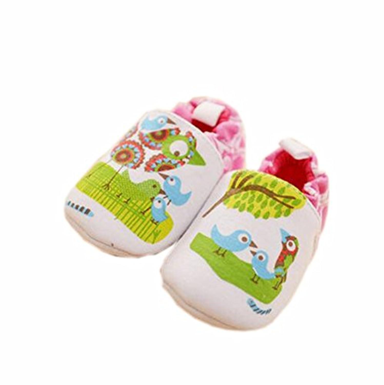 ベビーファーストウォーカーソフトソールコットン幼児の靴緑の鳥