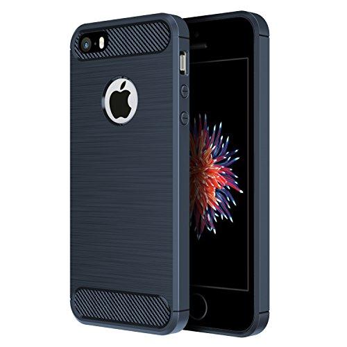 iPhone SE ケース, Simpeak ラギッド アーマー SE/5S/5 炭素繊維カバー T...