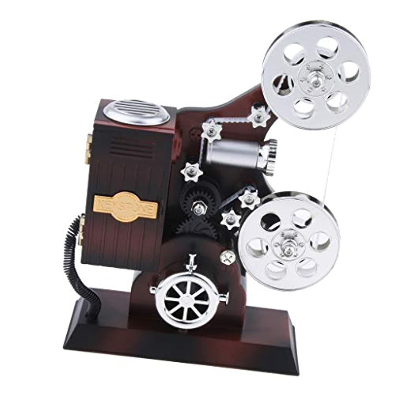Perfk ヴィンテージ クリエイティブ 映画プロジェクター オルゴール 時計仕掛け 音楽ボックス おもちゃ 装飾品